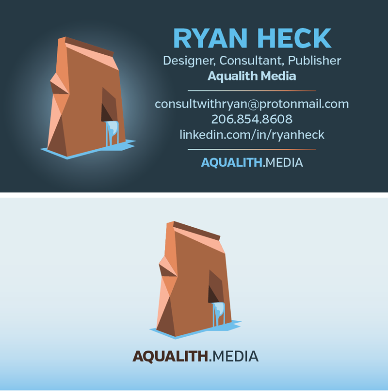 Front and back of Ryan Heck's business card