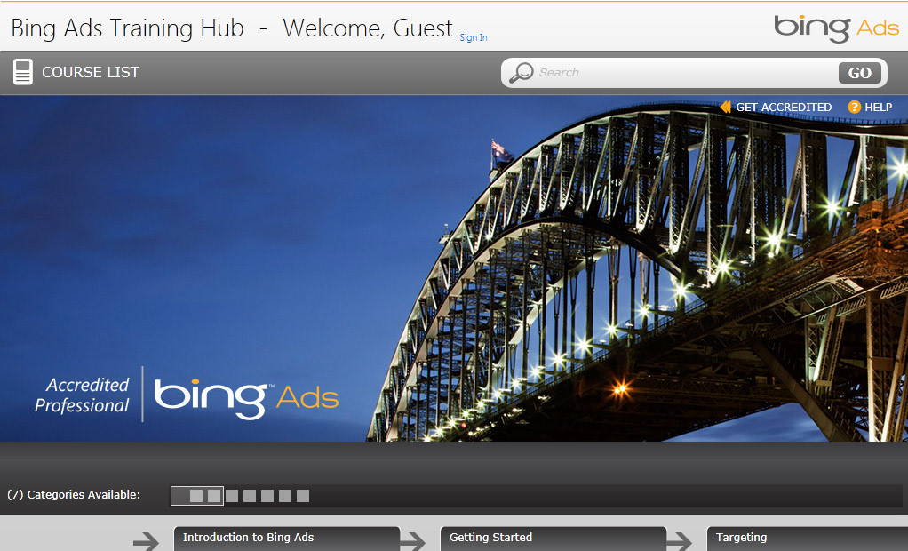 Bing Ads Accredited Professional Training Hub UI