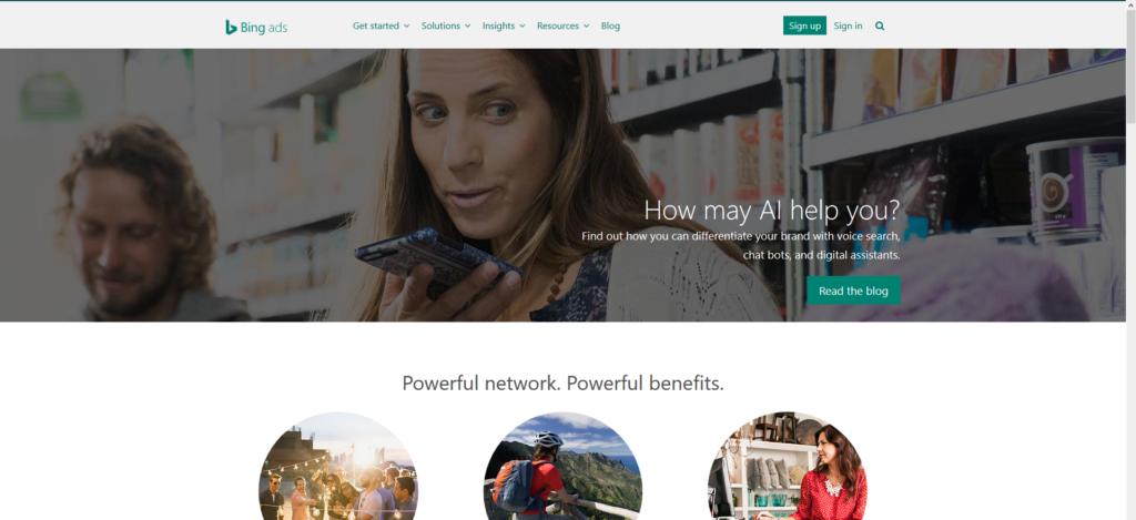 Bing Ads homepage hero - desktop view