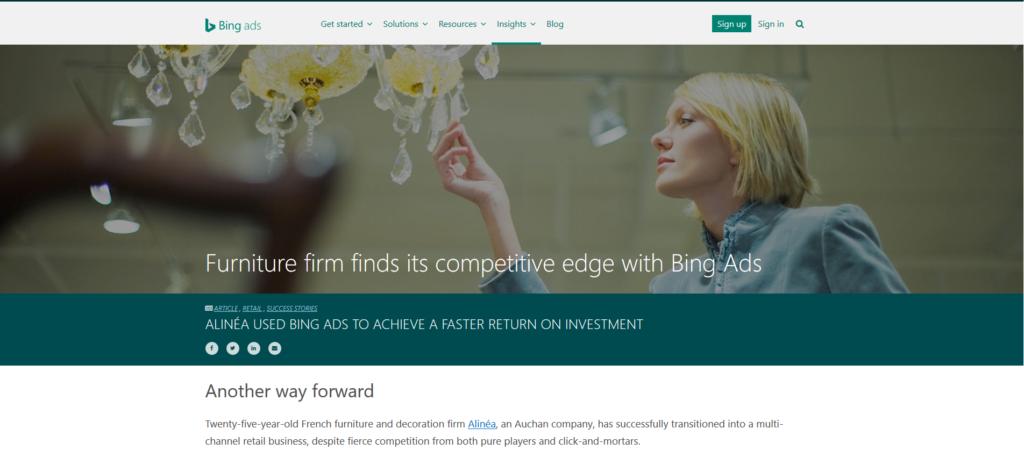 Bing Ads success story - desktop view