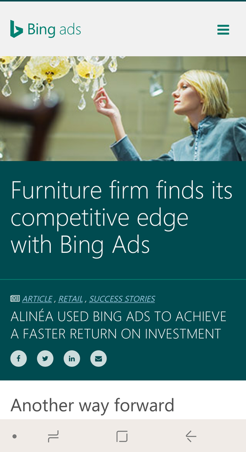 Bing Ads success story - mobile view