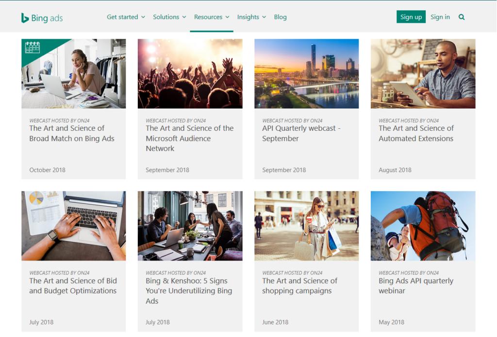 Bing Ads webcasts desktop