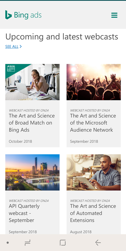 Bing Ads webcasts mobile
